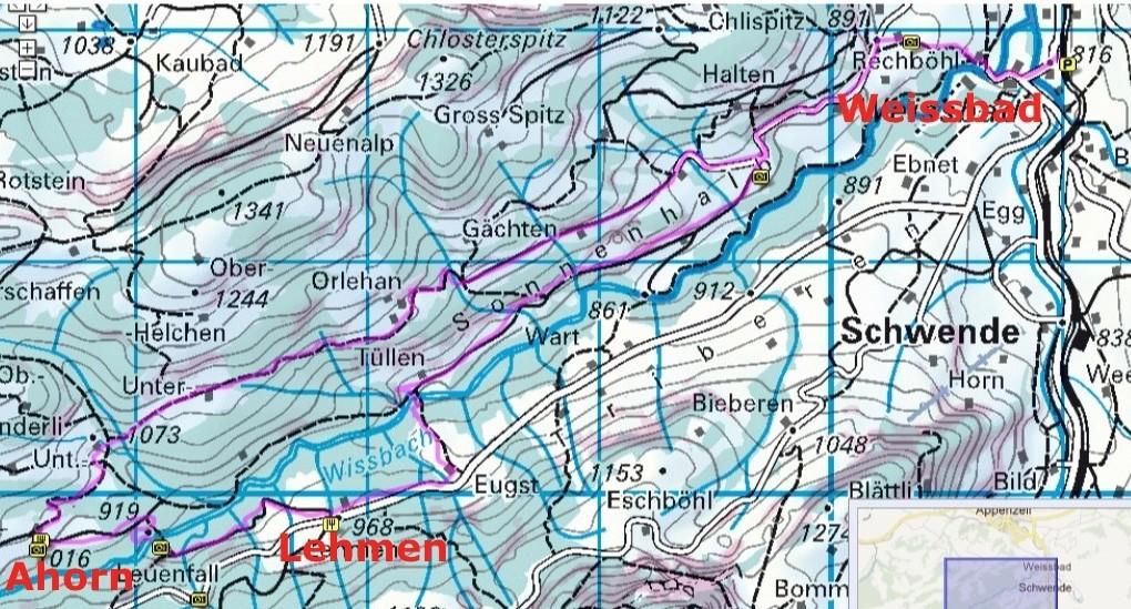 Karte: Weissbad-Ahorn-Lehmen-Weissbad