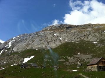 Blick von der Meglisalp auf die Kletterwand