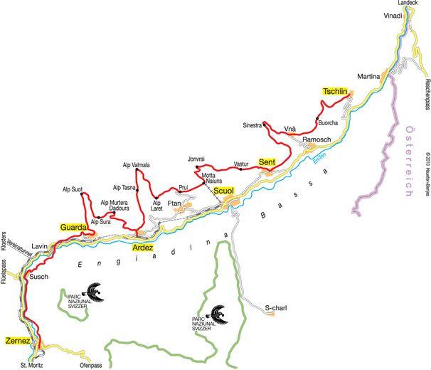 Karte Via Engiadina