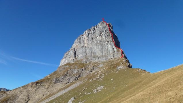 Aufstiegsroute auf die Leiteregg.