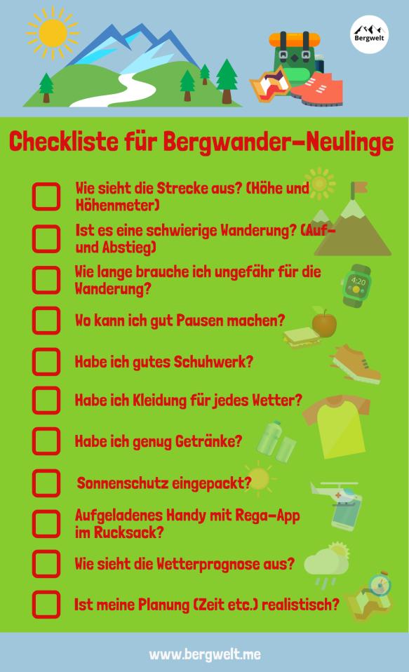 Checkliste für Wander-Neulinge