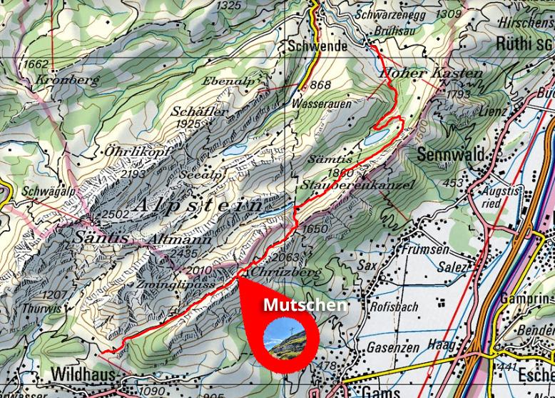 Wanderweg Wildhaus - Mutschen - Brülisau